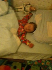 Happy in his own bed!