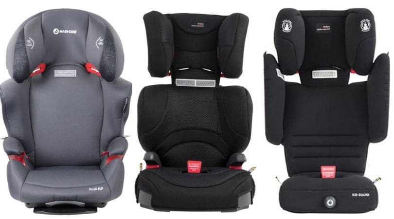 Maxi Cosi Rodi (left), Britax Hi-Liner (Middle) and Britax Kid Guard (Right)