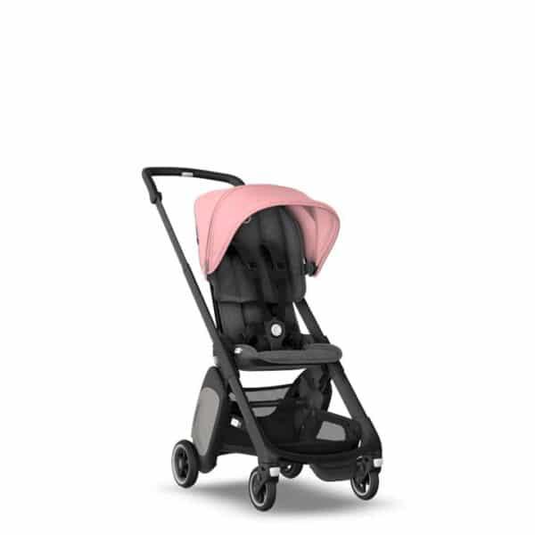 Bugaboo Ant pram, black chassis, grey melange fabrics & pink melange sun canopy